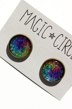 Holographic Tie Dye Earrings or Plugs by magiccircleclothing, $14.00