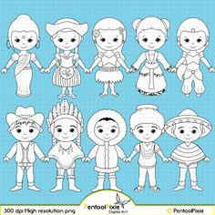 Children around the World Digital Stamp clipart by PentoolPixie Play School Activities, Multicultural Activities, Sunday School Coloring Pages, Tarjetas Diy, Preschool Colors, Map Background, One Stroke Painting, We Are The World, Craft Business