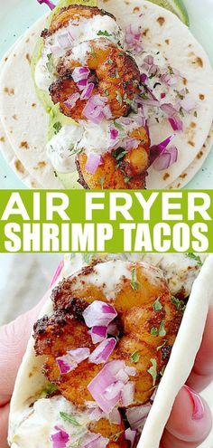 Air Fryer Shrimp Tacos I've tried this Air Fryer …. and i made my first recipe! Air Fryer Recipes Potatoes, Air Fryer Dinner Recipes, Air Fryer Oven Recipes, Air Fryer Recipes Shrimp, Shrimp Taco Recipes, Air Fryer Recipes Mexican, Easy Shrimp Tacos, Avocado Recipes, Healthy Recipes