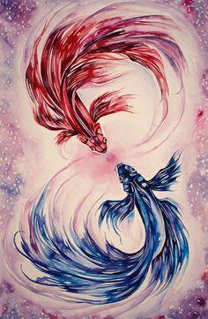 watercolor betta fish - Google Search