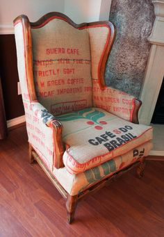 This is an antique chair that has been lovingly refinished and upholstered with 100% authentic Brazilian coffee sacks. Perfect for your coffee shop, breakfast nook, reading or study area, and is guaranteed to be an amazing and unique conversation starter!