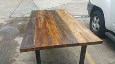 Mixed stain reclaimed table