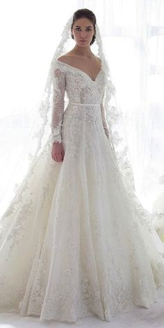 24 Of The Most Gorgeous Lace Wedding Dresses With Sleeves ❤ lace wedding dresses deep v neckline a line gown ziad nakad Full gallery: https://weddingdressesguide.com/lace-wedding-dresses-with-sleeves/
