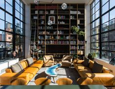 Custom Branching Bubble ChandelierPrivate Residence, TribecaPhotos by Lauren Coleman Home Library Design, Home Room Design, Living Room Designs, Living Spaces, House Design, Modern Library, Design Design, High Ceiling Living Room, Home Libraries