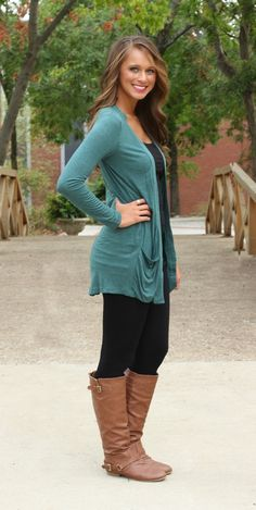The Pink Lily Boutique - Oh So Simple Pocket Cardigan Pine, $35.00 (http://www.thepinklilyboutique.com/oh-so-simple-pocket-cardigan-pine/)