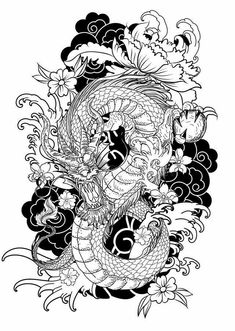 hand-drawn-dragon-tattoo-coloring-book-japanese-style-traditional-ocean-flower-c. - hand-drawn-dragon-tattoo-coloring-book-japanese-style-traditional-ocean-flower-carp-line-drawing-im - Dragon Tattoo Colour, Dragon Tattoo Sketch, Dragon Sleeve Tattoos, Dragon Tattoo Designs, Color Tattoo, Dragon Tattoo For Man, Dragon Tattoo With Flowers, Tattoo Sketch Art, Dragon Drawings