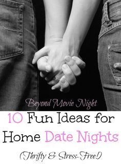 """Fun ideas for home date nights. I L-O-V-E that this list goes beyond """"Just watch a movie together"""" (though I love a good movie) and suggests things that spark conversation and bonding with your spouse! Hard to find a good list like that!"""