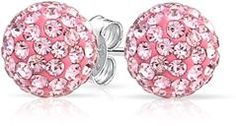 Bling Jewelry Simulated Pink Topaz Crystal Stud Earrings Shamballa Inspired Silver Plated 8mm.