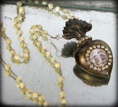 AVE MARIA Sacred Heart Reliquary Necklace