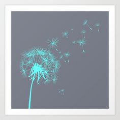 Gray and Teal Dandelion Art Print by Kimpressions - $16.00