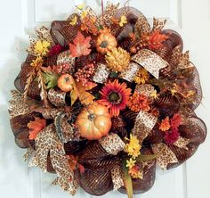 Gltzy Copper Deco Mesh Fall Wreath with Beautiful Glitter Pumpkins. HOW I WOULD LOVE TO HAVE THIS ON MY FRONT DOOR!