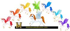 pegasus wall decals - fairy tale winged horse wall decals - unicorn wall decal stickers