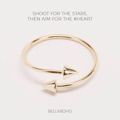 Bellaboho Open Ring Shoot Stars Heart Gold