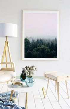 Beautiful forest landscape with pink misty sky print. Sunset over the mountains, Landscape photography, Printable Art, Bedroom decor, Office decor, gift for her,