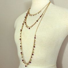 """Layered Amethyst and Gold Necklace This necklace is just beautiful.  There is a little discoloration with the gold because it's not real. However the amethyst beads are real.   The length around he beck adjusts 16""""-18 1/2"""". Jewelry Necklaces"""