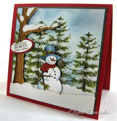 """Create a Dimensional Evergreen Snowman Scene Supplies Stamps (mine are Rubbernecker- Tree Set and Our Craft Lounge- Be Jolly) Watercolor Paper- I used 5"""" X 5"""" for the scene base Cardstock- colors of your choice Water Based Inks- colors of..."""