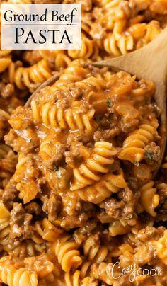 Easy Pasta Recipes, Easy Meals, Healthy Recipes, Chicken Recipes, Geound Beef Recipes, Hamburger Meat Recipes Easy, Healthy Hamburger, Homemade Hamburger Helper, Easy Pasta Dishes