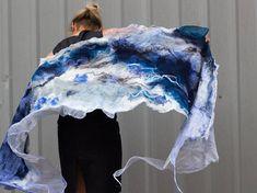 Wool tippet Bridal Wrap felted shawl Wool scarf merino wool silk navy blue felted art wedding wrap B Nuno Felt Scarf, Wool Scarf, Felted Scarf, Needle Felted, Nuno Felting, Evening Shawls, Orange Scarf, Wedding Wraps, Silk Shawl