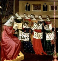 The Virgin Mary with her classmates showing needlework samplers to their teacher, detail from the Altarpiece of the Virgin and St. George, c.1390-1400, Lluis Borrassa (Catalan, c.1360-1425)