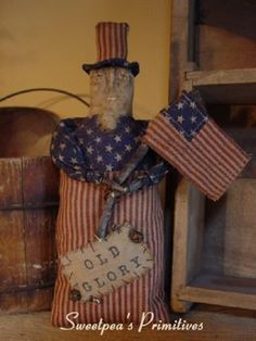Primitive Folk Art Americana 4th of July Uncle Sam Stump Doll PDF E-Pattern Sweetpeas Primitives