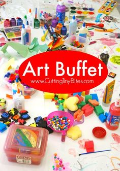 Process art at it's finest! Let your kids sample a little of this and a little of that. Set up an Art Buffet for your preschool or elementary students.