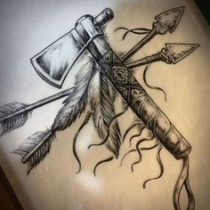 Andrew Drumm — Tomahawk and arrows. Custom design ready to go. Native American Feather Tattoo, Native Indian Tattoos, Indian Feather Tattoos, American Indian Tattoos, Indian Headdress Tattoo, Mens Feather Tattoo, Cherokee Tribal Tattoos, Indian Tattoos For Men, Indian Arrow Tattoo