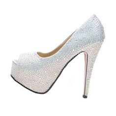 VELCANS Fashion Rhinestone Womens Platform High Heels Pumps,Bridal Shoes,Party and Wedding Sandals Shoes (8 B(M) US, Silver)  - Click image twice for more info - See a larger selection of bridal shoes at   http://zweddingsupply.com/product-category/bridal-shoes/ - woman , wedding , wedding fashion, wedding style, wedding ideas, woman fashion, shoes.