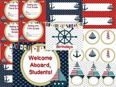 Editable Nautical Theme classroom decoration set