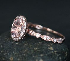 Morganite 14k Rose Gold Engagement Ring with by Twoperidotbirds