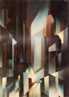 Tullio Crali - Luci della metropoli 1931 Italian Futurism, Abstract Art Images, Abstract Geometric Art, Futurism Art, Retro Futurism, A Level Art, Art Archive, Italian Painters, Italian Artist