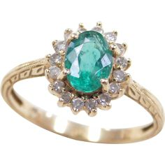 Vintage 18k Gold 1.01 ctw Natural Emerald and Diamond Halo Ring