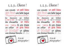 Une activité pour les enfants pendant le mariage : Créer une chasse aux photos pour les enfants en imprimant ce modèle.