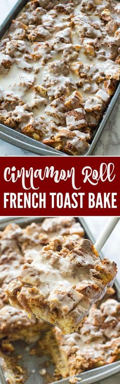 Easy Cinnamon Roll French Toast Bake Recipe! Easy Holiday Breakfast or Brunch Recipe for Thanksgiving or Christmas. A crowd favorite French Toast Casserole! Easy French Toast Casserole, Cinnamon Roll French Toast Bake Recipe, Cinnamon Roll Casserole, Cinnamon Rolls, French Toast Recipes, French Toast Muffins, Cinnamon Roll Waffles, Breakfast For A Crowd, Night Before Breakfast