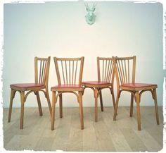 Suite de 4 Chaises Bistrot Vintage Baumann Assise Framboise