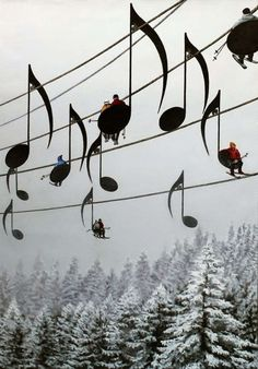 Musical Ski Lift Chairs, Jura Mountains, France