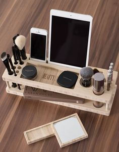 Beauty Station / Wood Makeup Organizer / makeup holder / iPad stand / desk organizer / lipstick holder / iphone: For when you don't have time to DIY, but do have a credit card. Wood Makeup Organizer, Make Up Organizer, Makeup Storage, Makeup Organization, Beauty Organizer, Storage Organizers, Bedroom Organization, Wooden Desk Organizer, Cosmetic Storage
