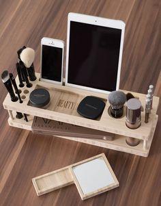 Beauty Station / Wood Makeup Organizer / makeup holder / iPad stand / desk organizer / lipstick holder / iphone