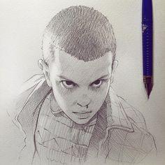 Stranger Things's Eleven!  See this Instagram photo by @kuvshinov_ilya •