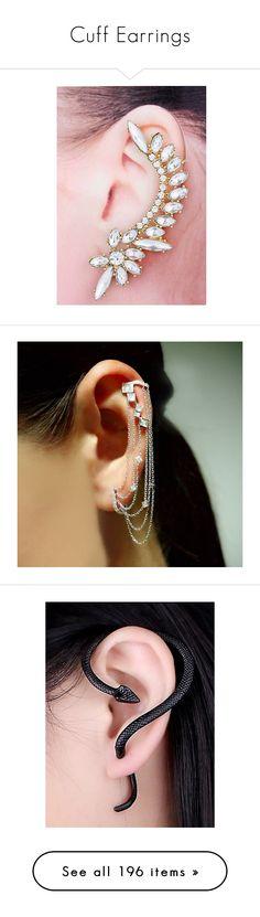 """""""Cuff Earrings"""" by karinelechka ❤ liked on Polyvore featuring earrings, cuff, CuffEarrings, jewelry, vintage looking jewelry, yellow gold earrings, ear cuff earrings, gold earrings, ear cuff jewelry and black white earrings"""