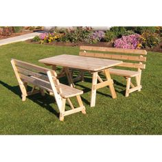 A & L Furniture Western Red Cedar Picnic Table with 2 Backed Benches - The A & L Furniture Western Red Cedar Picnic Table with 2 Backed Benches is your ideal backyard gathering spot. Whether for a small get-together o...