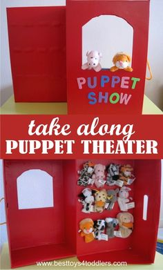 Use this DIY tutorial to make create puppet theater from shoe box, along with handle to carry along and use it as a storage for all finger puppets! Diy For Kids, Crafts For Kids, Hand Puppets, Felt Puppets, Toddler Activities, Apple Activities, Sequencing Activities, Diy Toys, Shoe Box