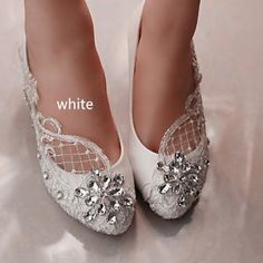 Lace-white-ivory-crystal-Wedding-shoes-Bridal-flats-low-high-heel-pump-size-5-12