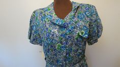 Vintage Berkshire NOS 40's 50's Blue Floral Rayon Shirt Waist Dress w Matching Belt and Original Tags Size M by AdoredAnew on Etsy