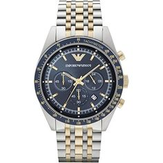 Emporio Armani Reloj de cuarzo Hombre con cronógrafo azul y oro pulsera de acero inoxidable AR6088