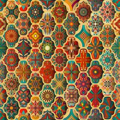 Colorful Vintage Pattern With Floral And Mandala Elements