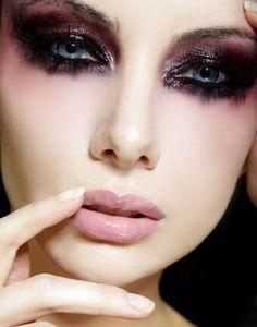 Dark smokey greasy eyes with cut up lashes