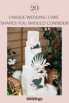 20 Unique Wedding Cake Shapes Contemporary Couples Should Consider Black Wedding Cakes, Unique Wedding Cakes, Beautiful Wedding Cakes, Gorgeous Cakes, Wedding Cake Designs, Wedding Desserts, Unique Weddings, Perfect Wedding, Wedding Cake Centerpieces