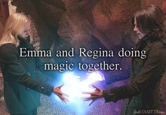OUAT-- Emma and Regina doing magic together. It SO looks like a heart that they are creating. SWAN QUEEN!!!!!