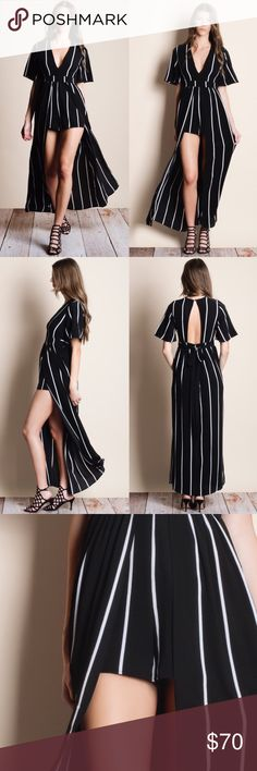 Gorgeous Striped Maxi Romper Attention grabbing striped pattern with a deep v-neck, short sleeves and an open front skirt overlay. 98% polyester, 2% spandex. Dresses Maxi