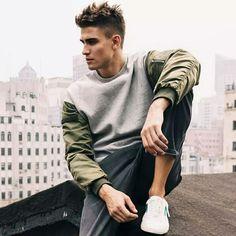 Grey+Sweatshirt+green